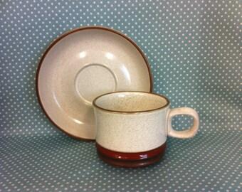 Vintage 1973 Denby Pottery Potters Wheel design cup & saucer. Duo. Tea set. - FREE UK POST -