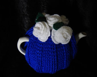 Roses Tea Cosy Royal Blue and White