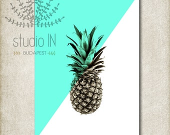 PINEAPPLE PRINTABLE - Chic pineapple instant download, Pineapple Print, Pineapple Art, Pineapple gallery wall, pineapple wall decor,