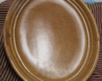 Vintage Monmouth Ill., Large Serving Platter, Just in Time for the Holidays, Caramel Speckle, Oven Proof