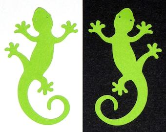 "Ten (10) pieces - 1.25"" X 2"" Gecko lizard reptile chameleon green PAPER DIE CUT photobook scrapbook card making acid lignin free paper"