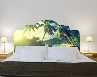 ON SALE -Headboards - Tropical Headboard - Palm Trees - Beach Decor - Headboard - Wall Sticker - Wall Decals - Couple Bed or Single Bed