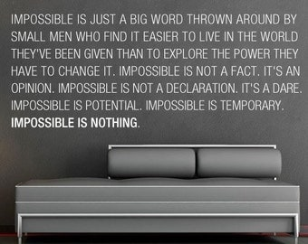 Impossible is Nothing Wall Sticker - Knowledge Decal  - Inspirational Stickers Motivational Decals
