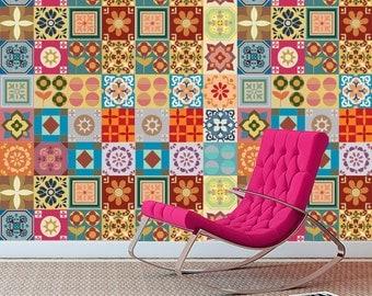 Tile Decals, Patchwork, Tile Decal, Kitchen, Tile Stickers, Tile Sticker for Kitchen Backsplash, Bathroom Tiles, PACK OF 49 SKU:PAATiles