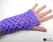 Open Weave Fingerless Crochet Gloves