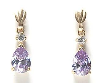 Solid 9ct Gold Lilac CZ Teardrop earrings D8