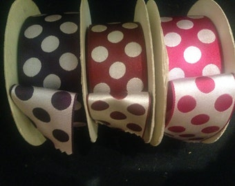 Vintage 1950s Mahogany and White or Purple and White Double-Sided Reversible 1and a half-inch Wide Silk Jacquard Polka Dot Ribbon