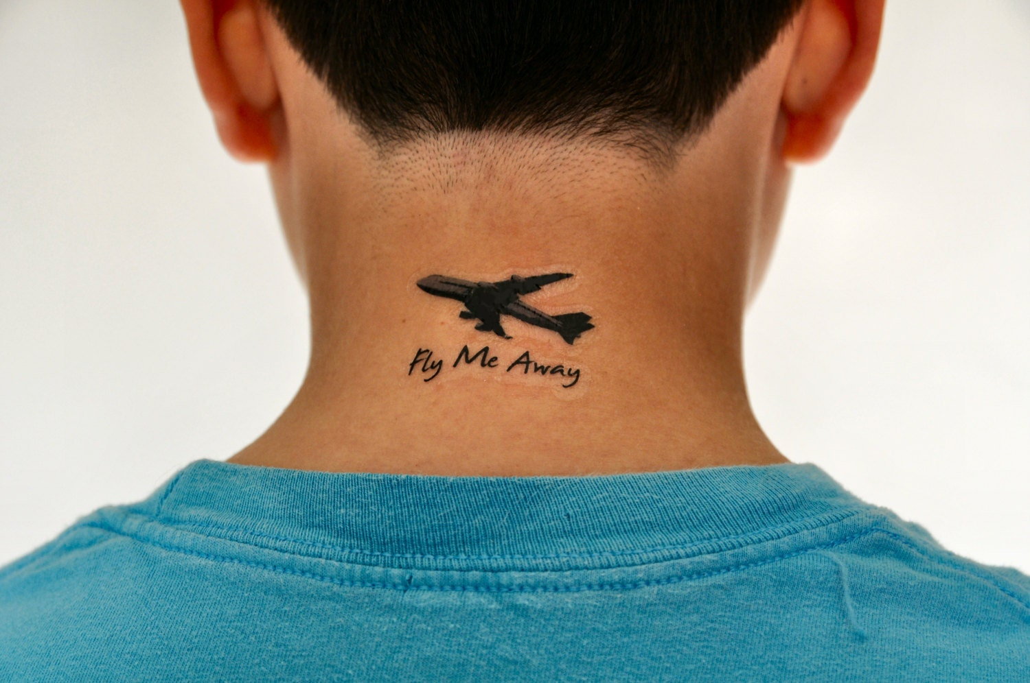 fly me away temporary tattoo plane tattoo by temporarytattooyou. Black Bedroom Furniture Sets. Home Design Ideas