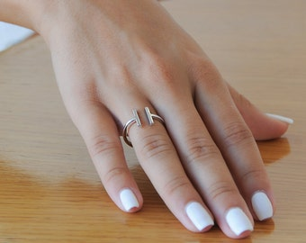 Tiny Parallel Bars, Sterling Silver Ring, Modern Minimalist Ring.
