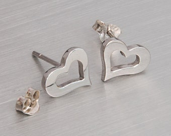 Open Heart Studs, Silver Post, 925 Sterling Silver, Open Heart Earrings