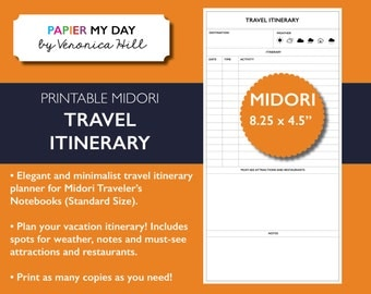 Midori Traveler's Notebook Travel Journal - Midori TN Travel Itinerary Planner