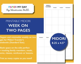 Midori Traveler's Notebook Weekly Planner - Midori TN Inserts - Midori Week on Two Pages