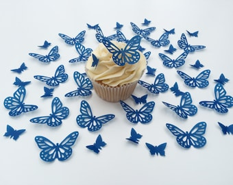48 Edible Royal Blue Butterfly Wafer Cupcake Toppers Precut