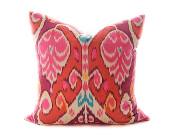 Red Ikat Pillow cover  - hot pink, marsala, turquoise, yellow, cream pillow, terracotta, brick red toss pillow, Boho pillow, Ikat pillow