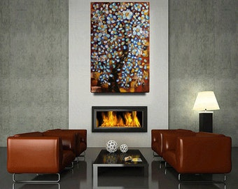 Abstract Painting Blue Cherry Blossom Contemporary Oil painting Landscape painting Acrylic painting Surreal Heavy Texture Rustic