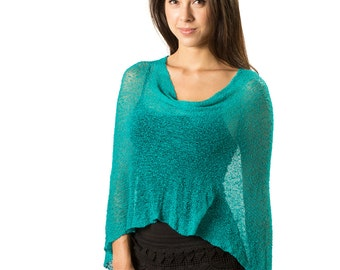 Teal Turquoise Green #21, Infinity Bali Poncho Shawl, Woven Knit Mesh See Through Cape, Shirt, Tunic Tube Dress, Skirt, Scarf All in One!