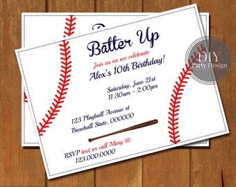 Baseball Birthday Invitation * Digital Party Invitation * You Print