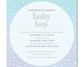 Baby Shower 5.25 Square Invitation - Twinkle Stars - Printable and Personalized