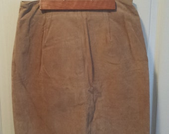 Vintage Tan Suede/Leather Skirt