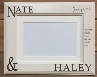 Couple Names Picture Frame, 4x6 &  5x7, Laser Engraved, Personalized, Valentine, Wedding Gift
