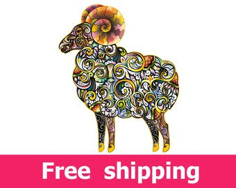 abstract ram wall decal, colorful ram wall sticker, magnate decal nursery poster magnate print ram gift magnate wall art ram decor [FL064]