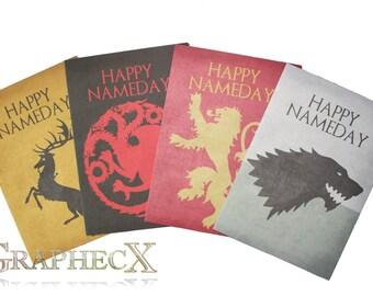 Fan-made Game of Thrones Stark Lannister Targaryen Baratheon inspired personalized birthday card