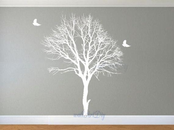 Décalque de mur hiver grand arbre arbre mural murales autocollant blanc arbre arbre et oiseaux mural Stickers Custom arbre blanc mur pochoirs