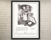 1919 ELGIN POCKET WATCH Victorian Advertisement • Christmas Present for Dad • 1910s Vintage Advertising • Holiday Wall Decor Art Print Ad