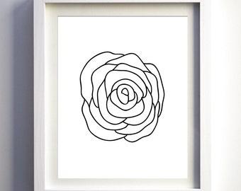 Rose Print, Printable Black and White Rose, Minimalist Art, Rose Instant Download, Modern Rose Art, Abstract Rose Print, Black Rose Print
