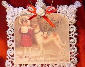 New Handmade Vintage Style Victorian Christmas Card Tree Ornament - Girl & Dog