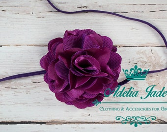 Purple Baby Headband, Flower Girl Headband, Plum Satin Lace Baby Girl Headband, Baby Headband, Flower Baby Headband, Infant Newborn Headband