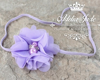Lavender Baby Headband, Baby Girl Headband, Newborn Infant Head Band, Purple Chiffon Flower Head Band, Dainty Headband
