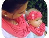 Mommy and Me Matching Infinity Scarves- Scarf and Headband Set - Pink sets -several pattern options available