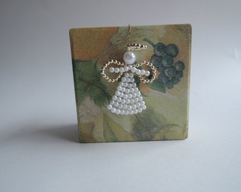 Pearl beaded angel ornament