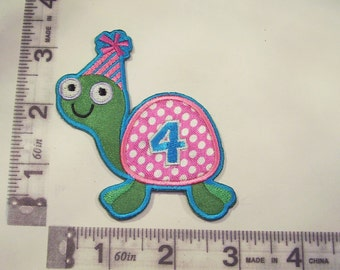 Happy 4th Birthday turtle iron on patch