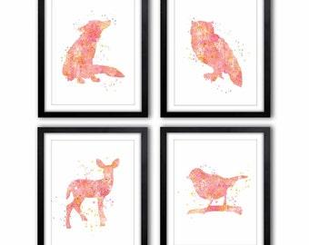 Girl's Room Art, Woodland Animals, Pink and Orange, Nursery Art, Fox Owl, Deer, Bird, Woodland Theme, Kids Wall Art - WS41