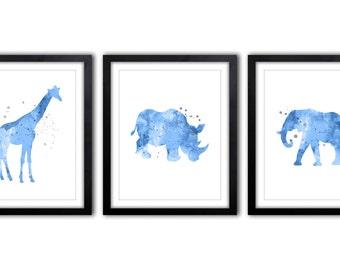 African Animal Nursery Decor, Wall Art For Boys, Watercolor Safari Theme Decor, Rhino, Elephant, Giraffe - Set of 3 - AS37