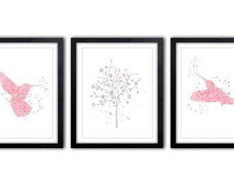 Hummingbird, Nursery Art, BabyGirl Nursery, Watercolor, Hummingird Art, Bird Nursery Decor, Tree Art, Kids Wall Art, Set of Three - BIS2