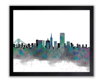 San Francisco City Watercolor Skyline Wall Art Print - Urban Watercolor Art  - Abstract Watercolor Painting - SAN FRANCISCO 1