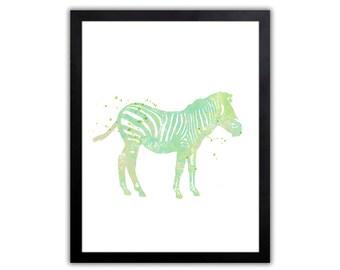 Zebra Art - Watercolor Safari Animal Art - African Animal Print - SA028