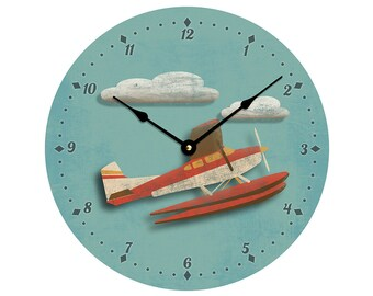 Contemporary airplane or seaplane design 10 inch wall clock. Child's room decor, nursery decor. CL3051 free US shipping