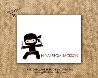 Ninja Note Cards - Ninja notecards - Ninja Stationery - Personalized Note Cards - Personalized Stationery
