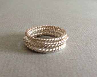 Set of Five Sterling Silver Twisted Wire Stacking Rings, Size 8