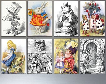 Alice In WonderLand Fridge Magnets - Sir John Tenniel Illustrations - Set Of 8