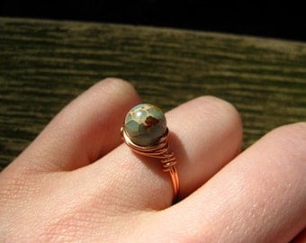 Sea Blue Magnesite Copper Ring