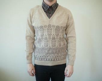 S Handmade Nordic 70's V Neck Jumper Sweater