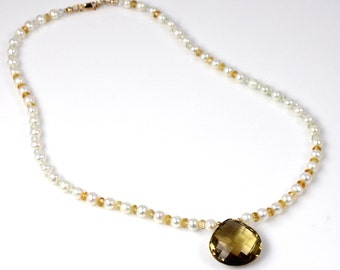 Citrine Quartz Green Amethyst and Pearl Necklace