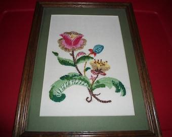 Vintage Needlepoint Flower Framed Wall Hanging