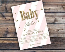 Baby shower invitation -  Glitter baby shower invite - Printable unique baby shower invitation - Baby Shower - Modern baby shower invite
