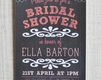 "Bridal Shower Chalkboard Invitation. Digital file. 6x4"" Personalised"